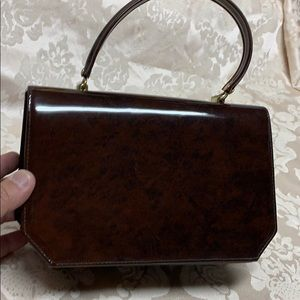 Vintage Vinyl Handbag 50's60's Retro Brown Madmen
